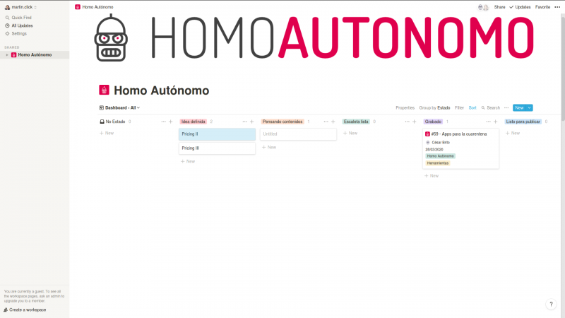 Captura del Notion de Homo Autónomo