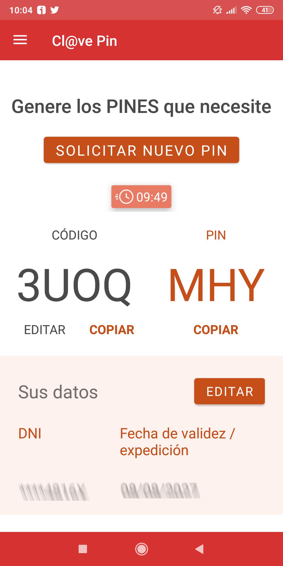 Captura de pantalla del aspecto de la APP Clave PIN